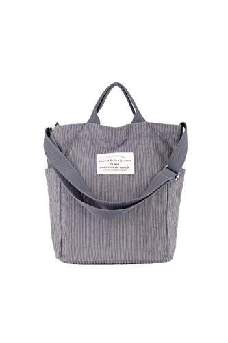Ulisty Damen Cord Schultertasche Lässige Handtasche Mode Schultasche Umhängetasche grau