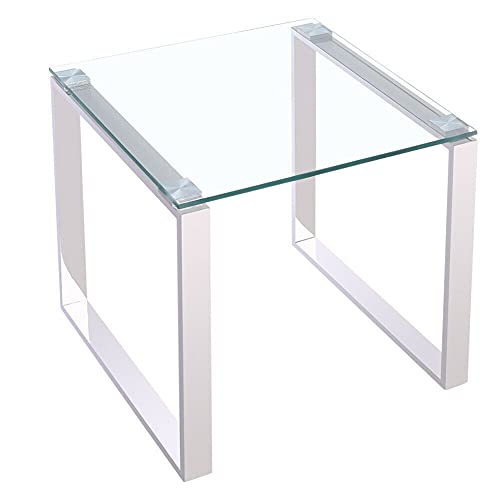 HUIJK Coffee Table Tempered Glass Top Stainless Steel Legs Side End Tables Living Room
