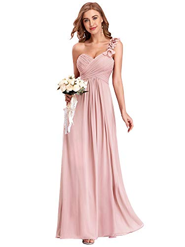Ever-Pretty Damen Abendkleid One Shoulder A-Linie Empire Chiffon Lang Brautjungfernkleider Rosa 36EU