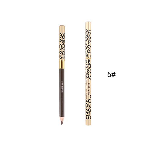 😘Websad😘_Brown Black Eye Liner Waterproof Leopard Eyebrow Eyeliner Pencil Brush (E)