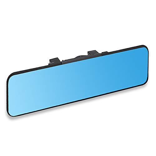 SkycropHD Anti Glare Car Interior Rear View Mirror, Clip on Wide Angle Rearview Mirror to Eliminate Blind Spots – Flat, Blue,11in (280mm)