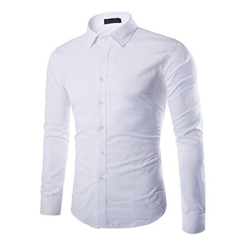 Gdtime Camisas De Manga Larga De Los Hombres, Color Sólido Regular Manga Larga Resistente a Las Arrugas Camisas Casuales, Doble Botón Abajo Clásico Vestido Camisa para Hombres (Blanco, XXL)