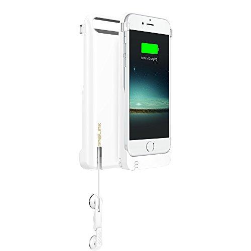 Snailink RAPPCase accuschaal voor Apple iPhone 6/6S met intrekbare hoofdtelefoon (MFI-gecertificeerd, 2650 mAh, lithium-polymeer-accu, gratis displaybescherming, geïntegreerde microfoon), Apple iPhone 6 / 6S, Aspen wit.
