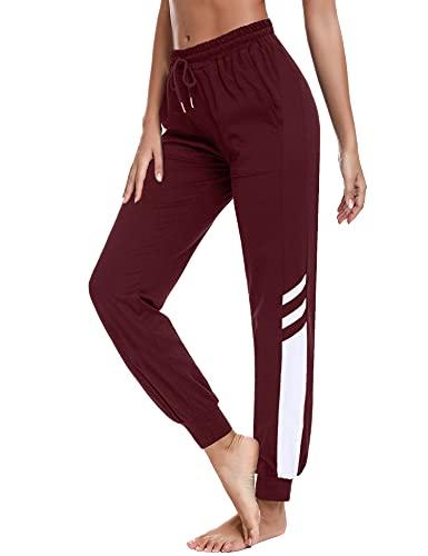 Sykooria Pantalones Chándal de Largos para Mujer Pantalón de Deportivos Algodón con Bolsillo Jogger Fitness Yoga Pijama Correr