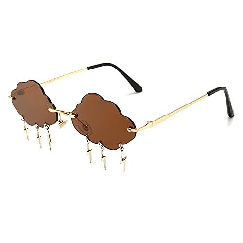 HAOMAO Gafas de Sol únicas con Forma de Nube sin Montura con Colgante de relámpago para Mujer, Lentes de océano Transparentes, marrón