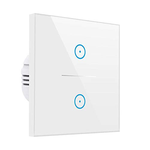 Smart Alexa Lichtschalter,MEAMOR WiFi Funk Touch Wandschalter Kein Hub erforderlich,Kompatibel mit Alexa/Google Assistant/Smartphone(2 Gang)
