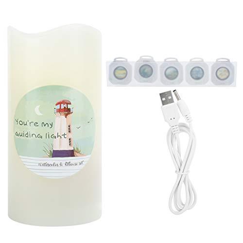 Tomanbery Iluminación de Vacaciones Lámpara de proyección de Velas Luz de Velas Rotación automática Reemplazo Simple Sala de Estar