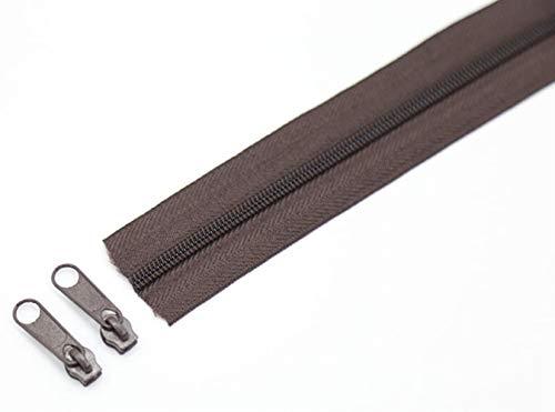 Yener 3 meter nylon spoelritsen met bijpassende kleurschuifregelaars voor doe-het-naaien kledingaccessoires, donkere koffie, 3#