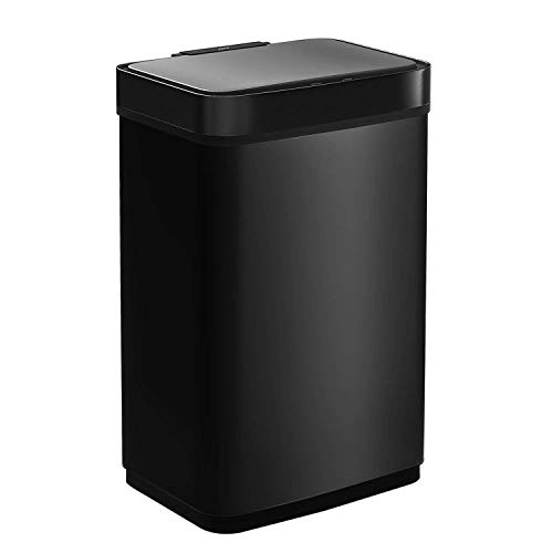 CAYNEL 50 Liter/13 Gallon Sensor Trash Can Stainless Steel Touch-Free Rectangular Kitchen Bin, Automatic Touchless Infrared Motion High-Capacity Garbage Can (Black)
