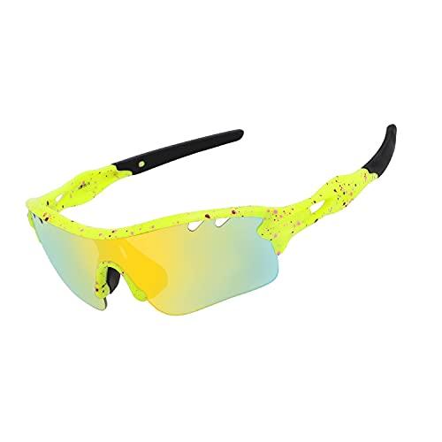 DUDUKING Gafas Sol Polarizadas Hombre Mujer Gafas de Sol Deportivas UV 400 Protección Gafas con 5 Rodajas De Lentes Intercambiables para Ciclismo Correr Golf Beisbol Surf Conducción Esquiando