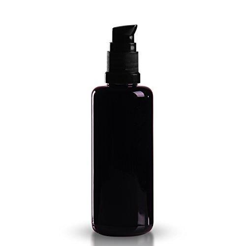 1 x Violettglasflasche 50ml inkl. Pumpverschluss DIN 18mm schwarz (geeignet für alle wässrigen und fließfähigen Flüssigseifen und Cremeseifen mit einer Viskosität von 1.000 - 10.000 cps Centipoise) Mironglas / Miron-Glas