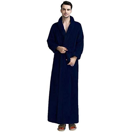 UFODB Unisex Damen Herren Bademantel Winter Warm Dicken Morgenmantel Flanel Taschen Bathrobe Saunamantel Nachtwäsche Kimono Pajamas Schlafanzüge Schlafmantel
