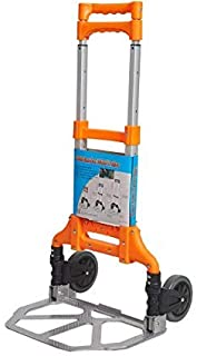 YLOVOW Folding Hand Truck 120 Kg Heavy Duty Solid Construction Utility Cart Compact and Lightweight for Auto Portable Fold Up Dolly,Orange Moving Use