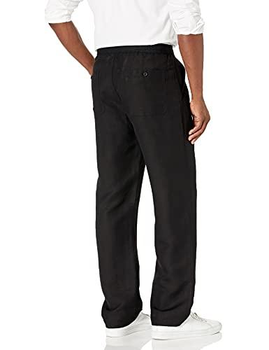 Cubavera Men's Drawstring Linen-Blend Pant with Back Elastic Waistband, Black, X Large x 30L