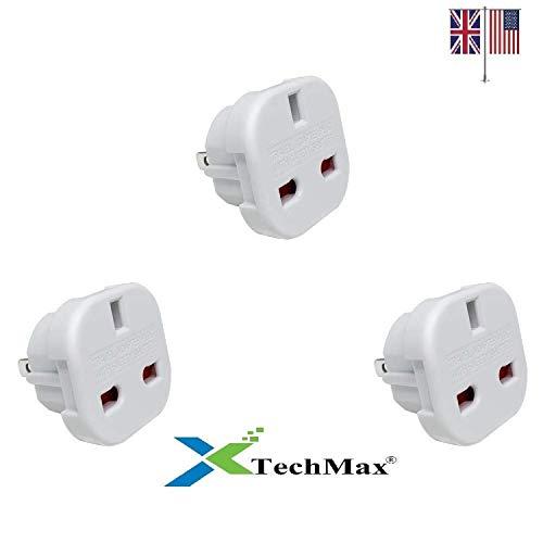 TechMax - Adattatore da viaggio da Regno Unito a Stati Uniti, 2 pin (piatto), adatto per USA, Canada, Australia, Messico, Nuova Zelanda, Thailandia, Brasile e altri paesi