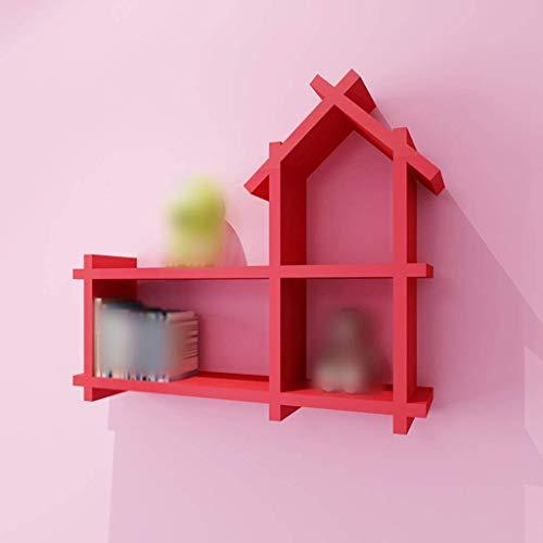 YLCJ Creatieve boekenkast van massief hout met hoge sterkte kamerverdeler wandplank creatief plank decoratief rek (kleur: rood)