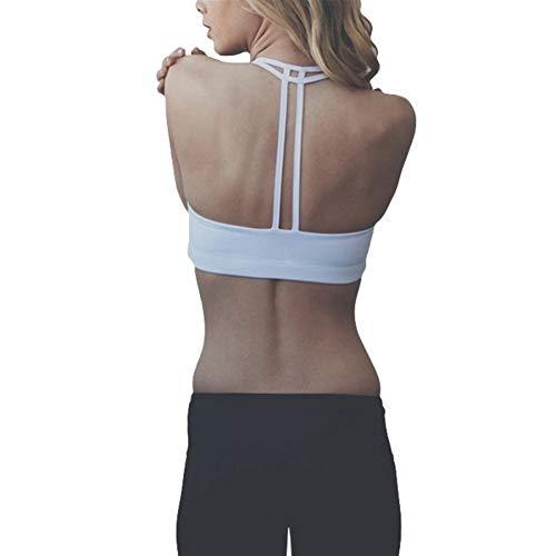Jinqiuyuan Mujeres Sport Bras Doble Palabra de Honor de la Aptitud del Chaleco de la Ropa Interior Gimnasio Acolchado T-Back Bras Ejecución de Yoga Superior de Sujetador inconsútil No Hay Llantas