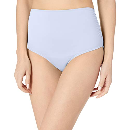 Anne Cole Women's High Waist to Fold Over Shirred Bikini Bottom Swimsuit, New Light Blue, Extra Small