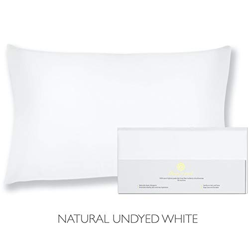 "Beauty of Orient - 100% Pure Mulberry Silk Pillowcase for Hair and Skin, 19 Momme Both Sides, Hidden Zipper, Natural Hypoallergenic Silk Pillow Case - Best (1pc King - 20"" x 36"", Natural Undyed White)"