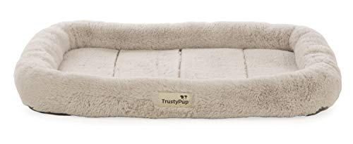 TrustyPup Quilted Crate | Plush Bolstered Pet Crate Mat | Cushioned Foam & Non-Skid Bottom | Machine...