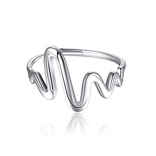 ChicSilver 925 Sterling Silver Heartbeat Ring EKG Lifeline Pulse Band Adjustable Open Ring Sizes 6-12