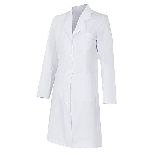 Bata de mujer manga larga con bolsillos y botones - para profesionales laboratario, medico, señora, uniformes, sanitario, trabajo - Color: Blanco (M)