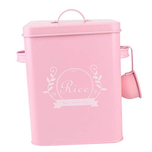 Fenteer Vintage Waschpulver Aufbewahrungsbehälter Küche Blechdose Waschmittel Aufbewahrungsbox für Mehl, Reis oder Waschpulver - Rosa