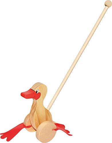 small foot 2092 Schiebespielzeug Watschel-Ente aus Holz, platscht beim Schieben mit den Füßen
