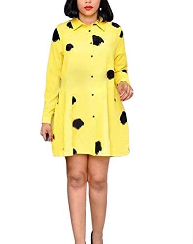 Vestidos elegantes de la camisa corta de las señoras una línea de oscilación de graffiti mini vestido de manga larga vestidos de las mujeres de moda, amarillo, L