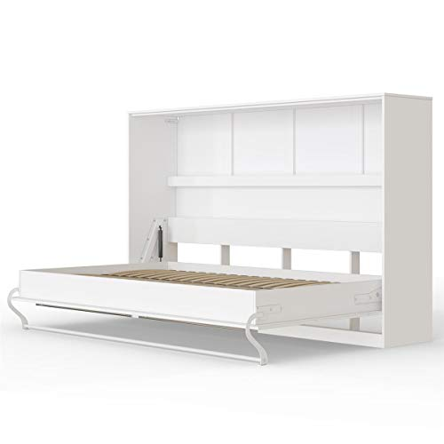 SMARTBett Standard 120x200 Horizontal Weiss Schrankbett | ausklappbares Wandbett, ideal geeignet als Wandklappbett fürs Gästezimmer, Büro, Wohnzimmer, Schlafzimmer