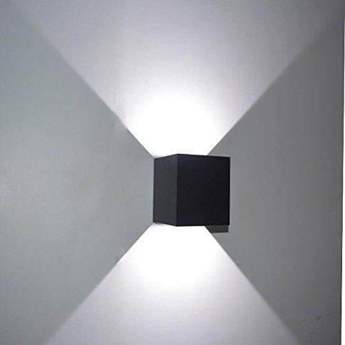 LED Aluminium Imperméable Applique Atténuation Quatuor Chambre Couloir Rayon Salle d'exposition Projecteur café Restaurant Style Divertissement 220V 7W , Black square , white light