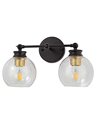 2 Light Bathroom Vanity Lighting Fixtures Industrial Vintage Farmhouse Wall Sconces Oil Rubbed Bronze Seeded Clear Glass for Porch Bedroom Living Room