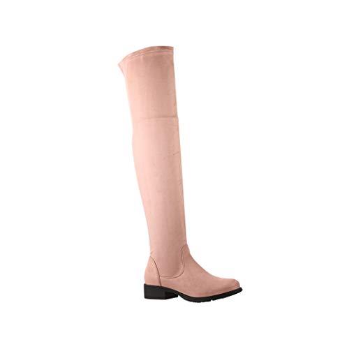 Elara Damen Stiefel Overknees Wildlederoptik Chunkyrayan 4832 Pink-38