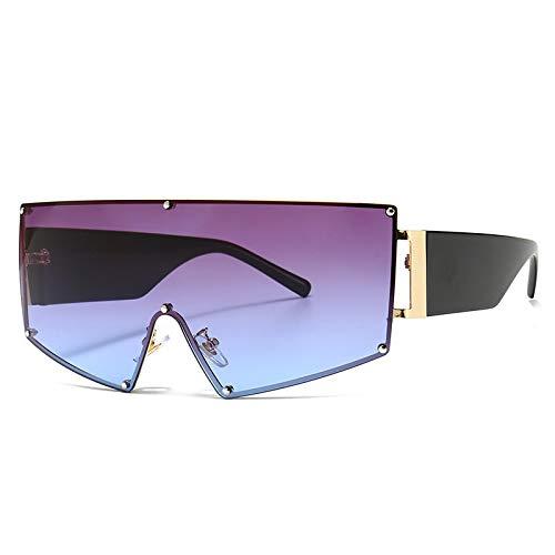 ShZyywrl Gafas De Sol De Moda Unisex Gafas De Sol Negras De Gran Tamaño Vintage para Mujer, Gafas De Sol Steampunk De Una Pieza, Gafas Cuadradas para Hombre, G