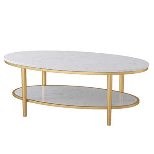 FACAIA Tables Basses Ovales Double Couche pour Petit Appartement Salon Balcon et Chambre à Coucher Tables d'extrémité en marbre de Luxe léger 17.7 & Prime; (Couleur: A, Taille: Moyenne)