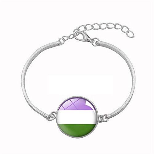 YUANOMSL - Pulsera de cristal tricolor, diseño de rayas tricolores, pulsera chapada en plata de aleación de plata, para mujer, hecha a mano, joyería de estilo europeo