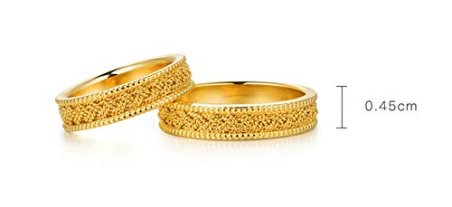 Epinki 18K Yellow Gold Women Twisted Design Ring for Him and Her Sets Promise Rings Matching Couples Rings Women Size 6.5 & Men Size 10