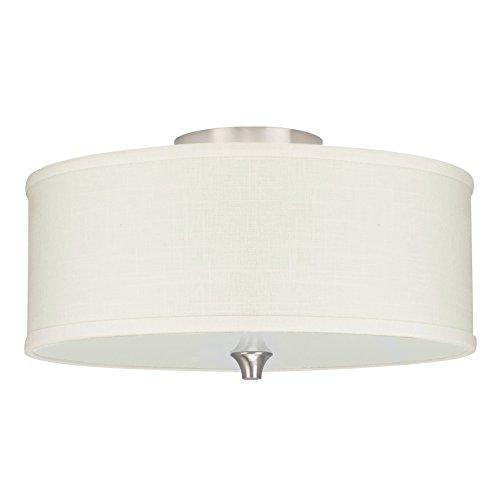 """Kira Home Newport 14"""" 2-Light Semi-Flush Mount Ceiling Light + Off White Linen Drum Shade, Brushed Nickel Finish"""