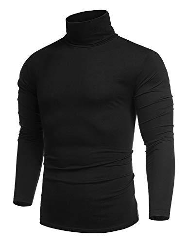 COOFANDY Herren Longsleeve Rollkragenpullover Basic Regular Fit Sweatshirt Fit Vielen Farben Vegan Funktionsshirt Schwarz S