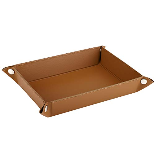 Luxspire Leather Tray, Men Rectangular Storage Tray Plate for Key Coin Phone Jewelry Wallet Desk Storage Tray, Medium Size - Brown