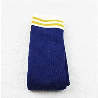 Lovely Socks Children Cotton Socks Kids Winter Stripe Patterns Terry Mid Tube Stocking(Turmeric) Newborn Sock (Color : Navy)
