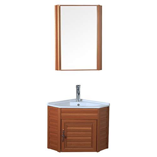 LCF wandmontage badkamer wastafel set, moderne badkamer wastafel set, opbergkast combinaties met spiegel deur, spiegel kast glas vat wastafel en kraan combo
