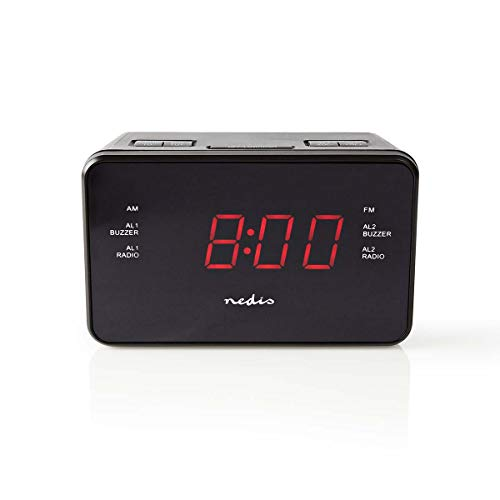 Nedis Digital-Wecker-Radio Digital-Wecker-Radio | LED-Anzeige | 2.3 cm | AM/FM | Snooze-Funktion | Sleep Timer | Digital | Schwarz Schwarz 1.40 m