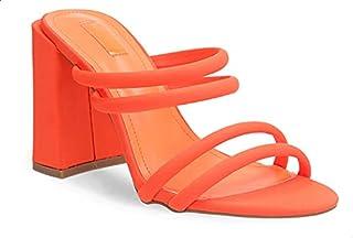 Dejavu Faux Leather Neon Rounded-Strap Open-Toe Block-Heel Sandals for Women