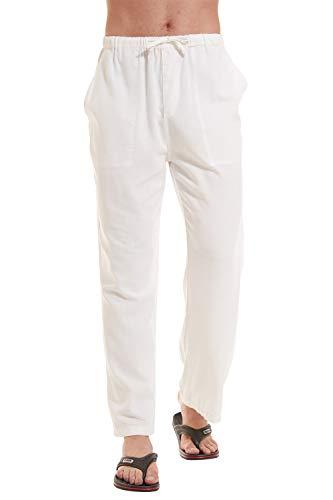 YuKaiChen Men's Cotton Linen Yoga Pants Lounge Pajama Sleep Pants Casual Sweatpants Beach Trousers White M