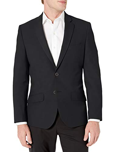 Amazon Essentials Men's Long-Sleeve Button-Front Slim-fit Stretch Blazer, Black, 42