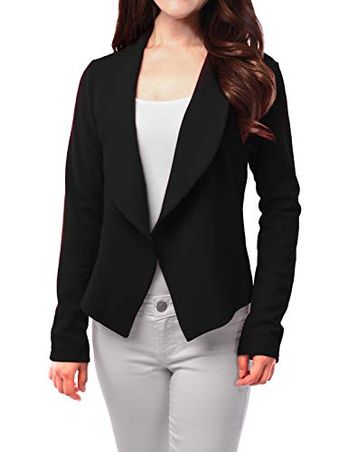 FASHIONOLIC Womens Light Weight Casual Work Office Open Front Blazer Cardigan Jacket Made in USA (CLBC002) Black M