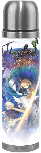 NR Anime Destiny Edelstahl Doppelschicht Vakuumisolierte Tasse Reisebecher Kaffeetasse Lederholster Heiße und kalte Isolierung - Auslaufsicher, kein BPA - 17 Unzen