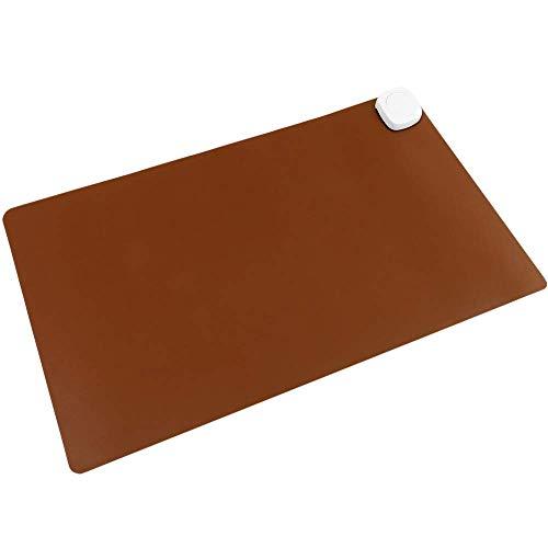 PrimeMatik - Alfombra y Superficie térmica con calefacción para Escritorio Suelo y pies de 60 x 36 cm 85W marrón