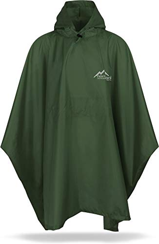 normani Unisex Regenponcho Regencape Regenmantel mit Kapuze - 6000 mm Wassersäule - 100% wetterfest aus Rip-Stop-Polyamid Farbe Oliv